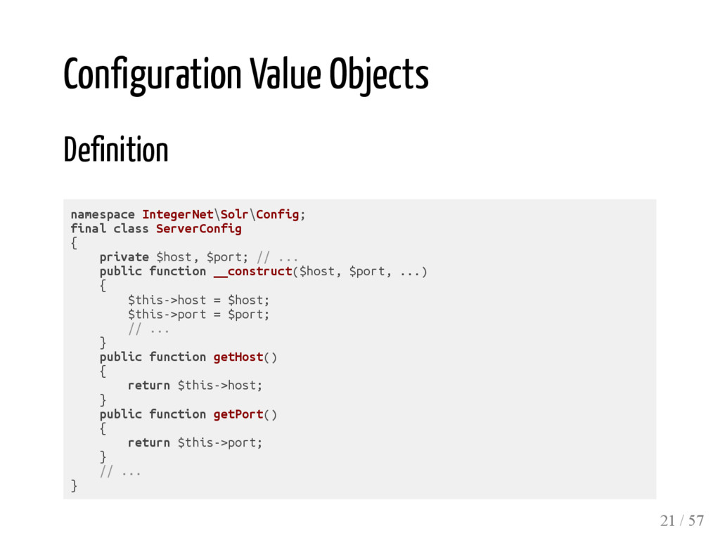 Configuration Value Objects Definition namespac...