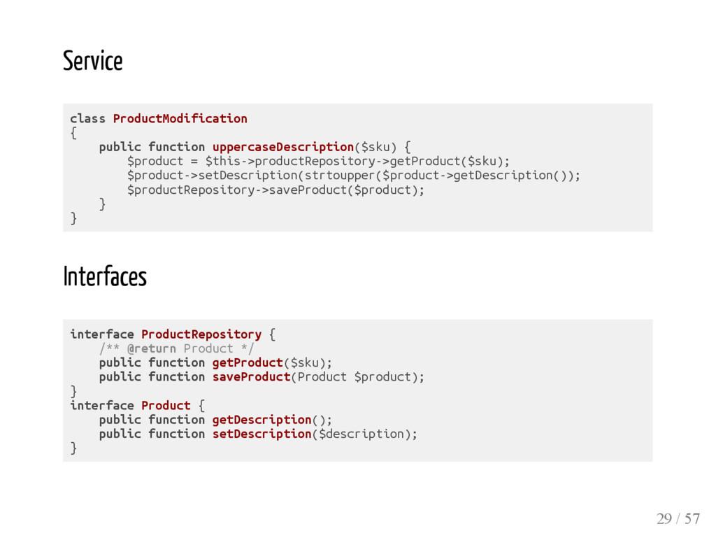Service class ProductModification { public func...