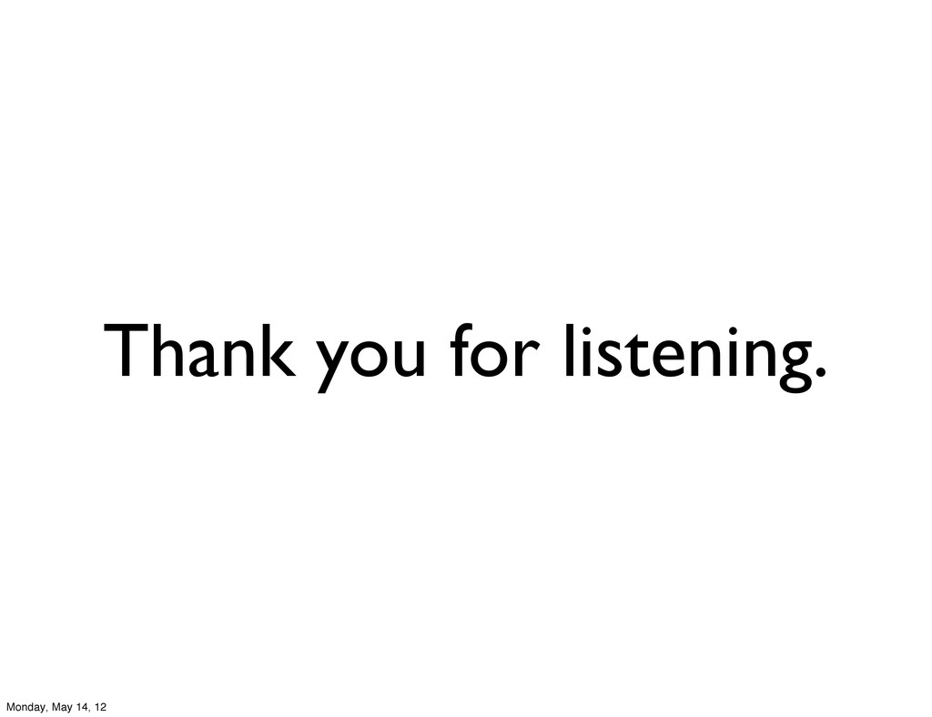Thank you for listening. Monday, May 14, 12