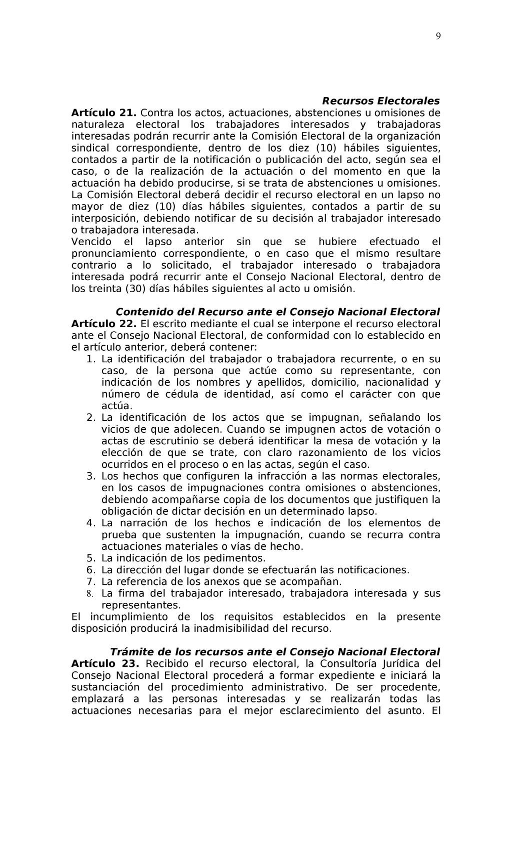Recursos Electorales Artículo 21. Contra los ac...
