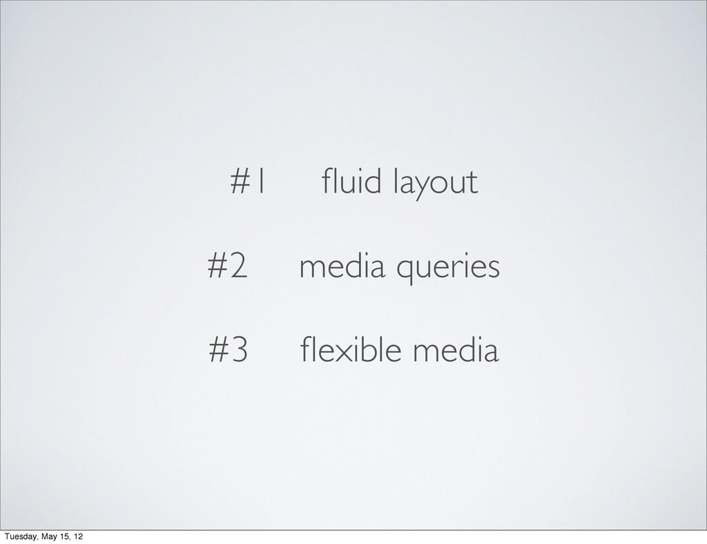 #1 fluid layout #2 media queries #3 flexible medi...