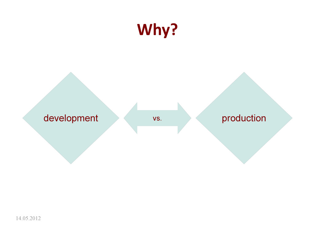 14.05.2012 Why? development production vs.