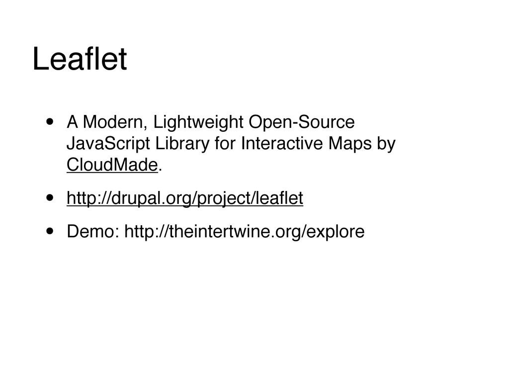 Leaflet • A Modern, Lightweight Open-Source Java...