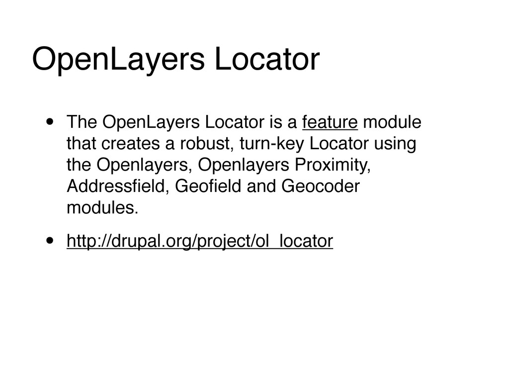OpenLayers Locator • The OpenLayers Locator is ...