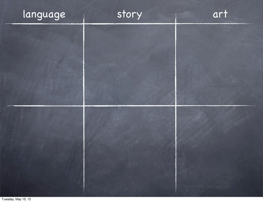 language story art Tuesday, May 15, 12