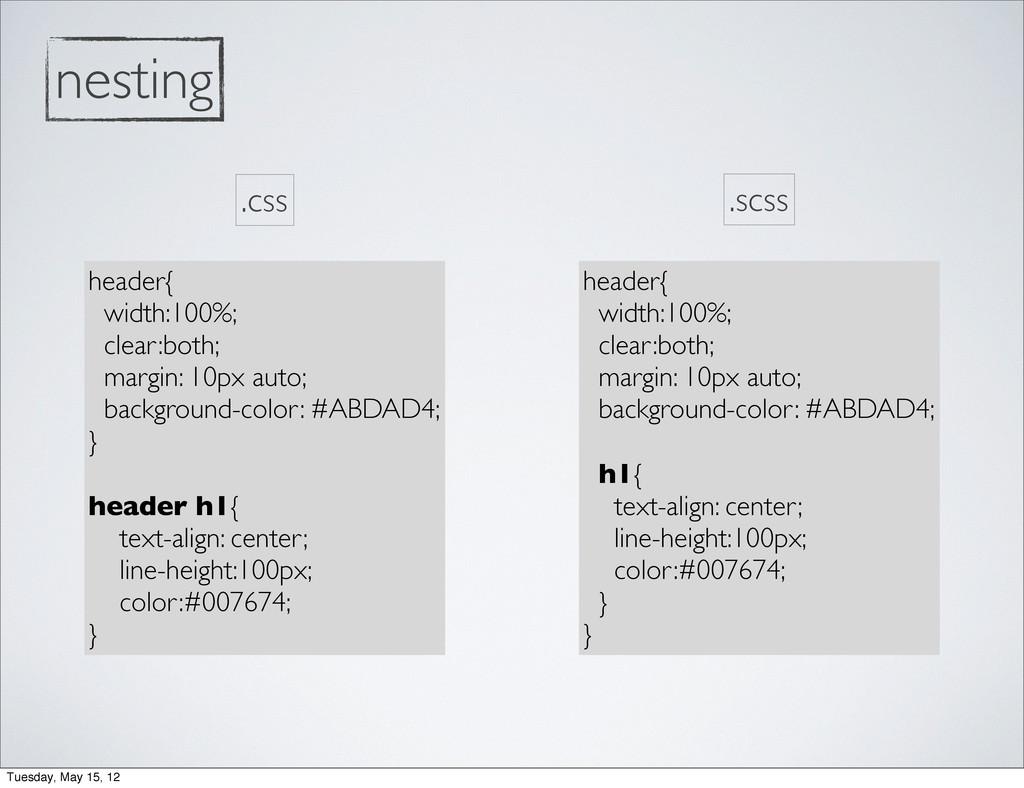 nesting header{ width:100%; clear:both; margin:...