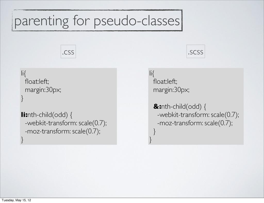parenting for pseudo-classes li{ float:left; mar...