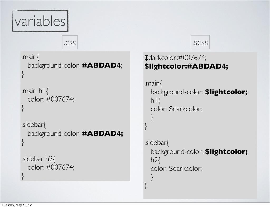 variables .main{ background-color: #ABDAD4; } ....