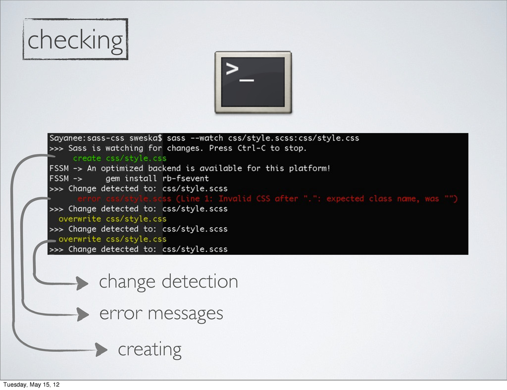 creating error messages change detection checki...