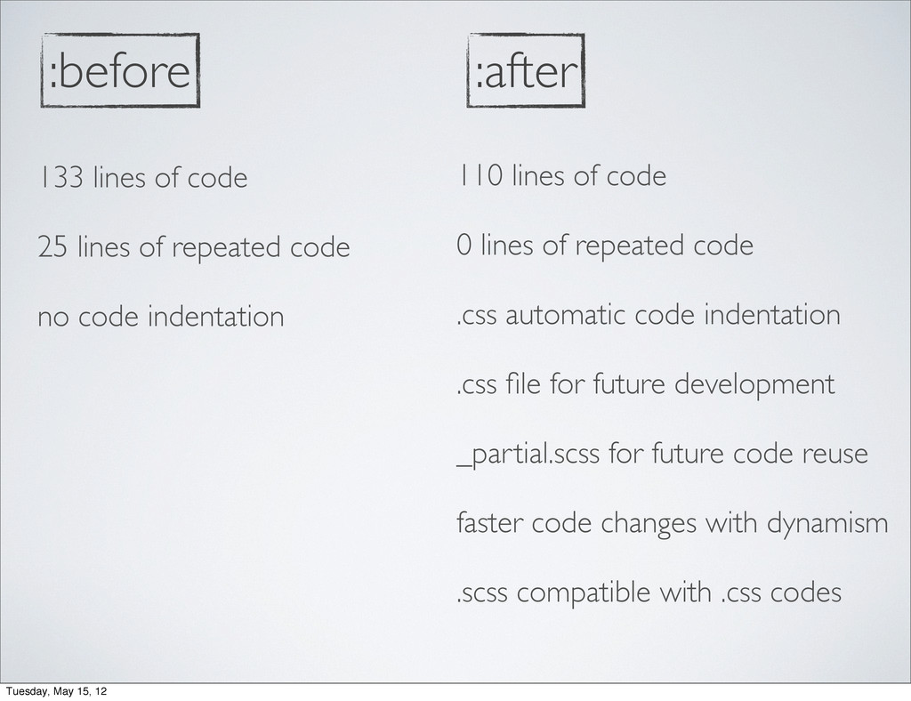:before 133 lines of code 25 lines of repeated ...