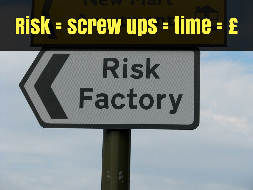 Risk = screw ups = time = £