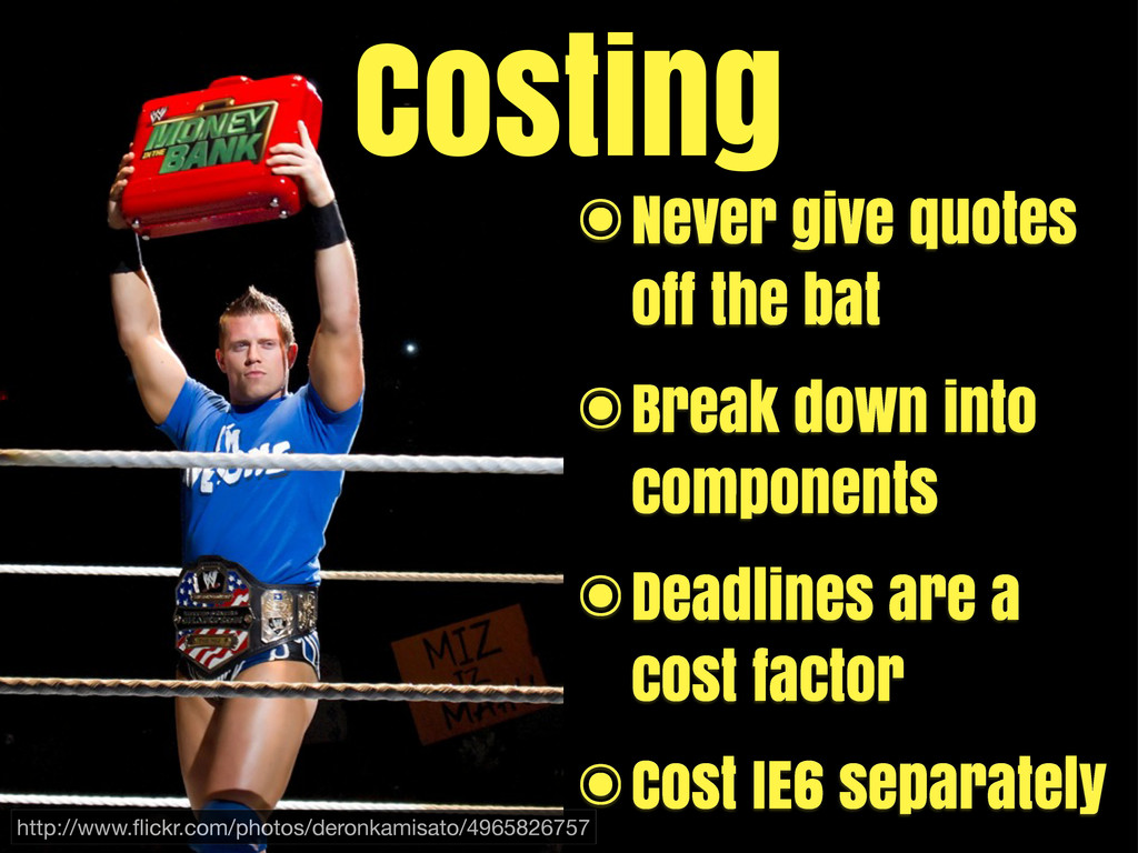 [bling image] Costing ๏Never give quotes off th...