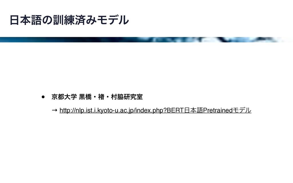 ຊޠͷ܇࿅ࡁΈϞσϧ • ژେֶ ࠇڮɾ㬗ɾଜݚڀࣨ → http://nlp.ist...