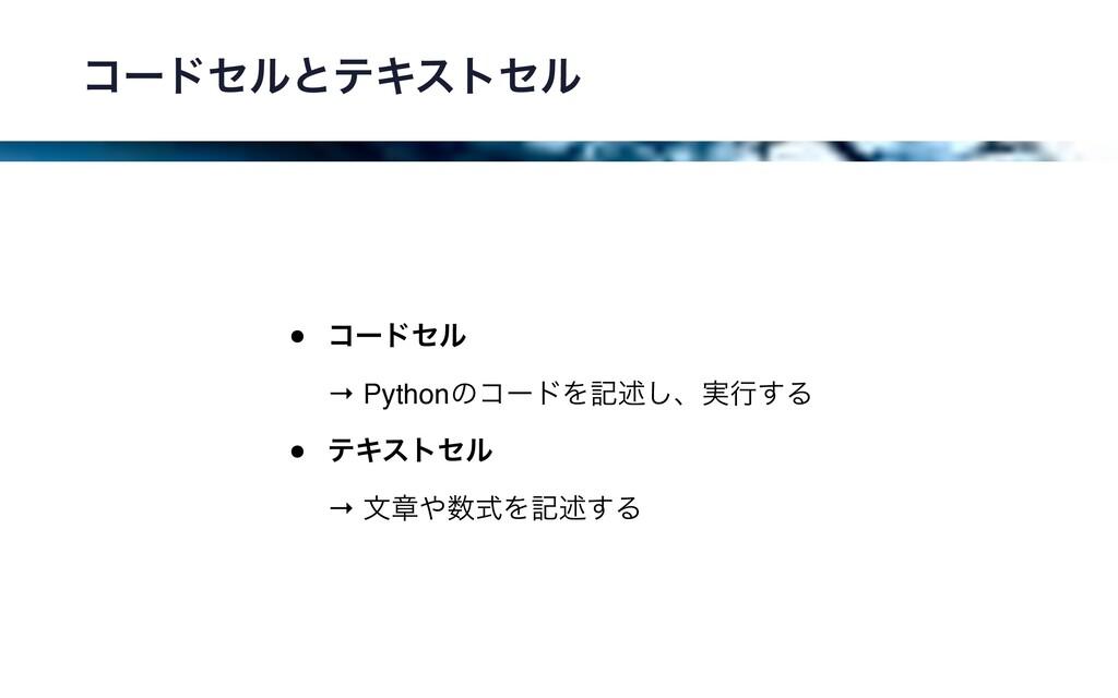 ίʔυηϧͱςΩετηϧ • ίʔυηϧ → PythonͷίʔυΛهड़͠ɺ࣮ߦ͢Δ • ς...