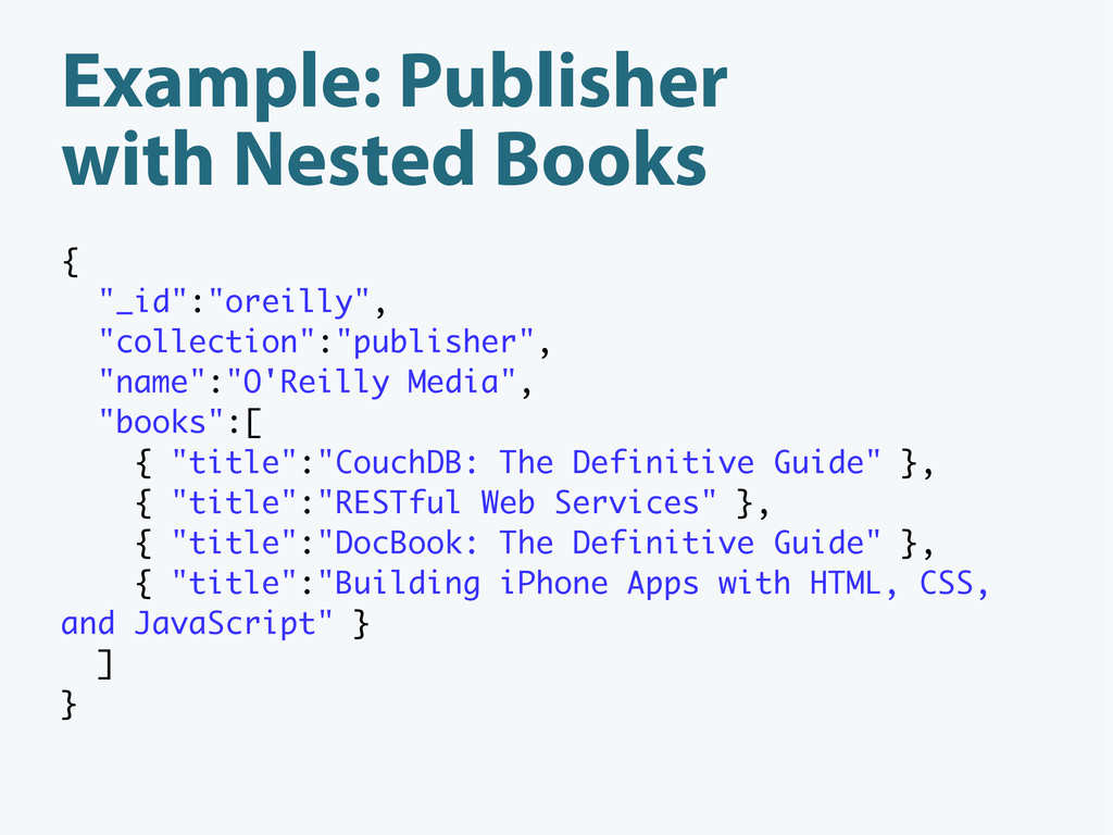 """Example: Publisher with Nested Books { """"_id"""":""""o..."""