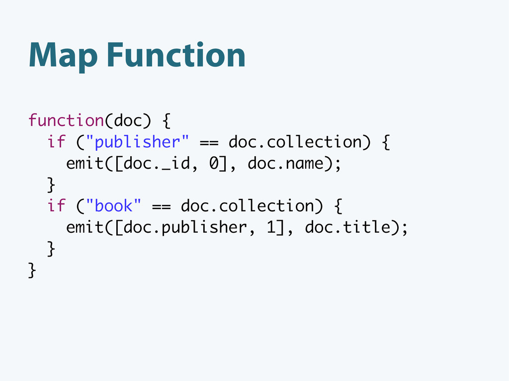 """Map Function function(doc) { if (""""publisher"""" ==..."""
