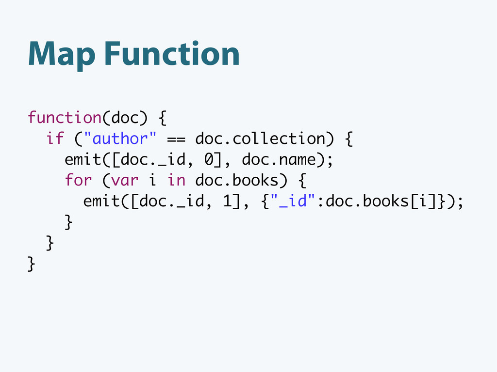 """function(doc) { if (""""author"""" == doc.collection)..."""