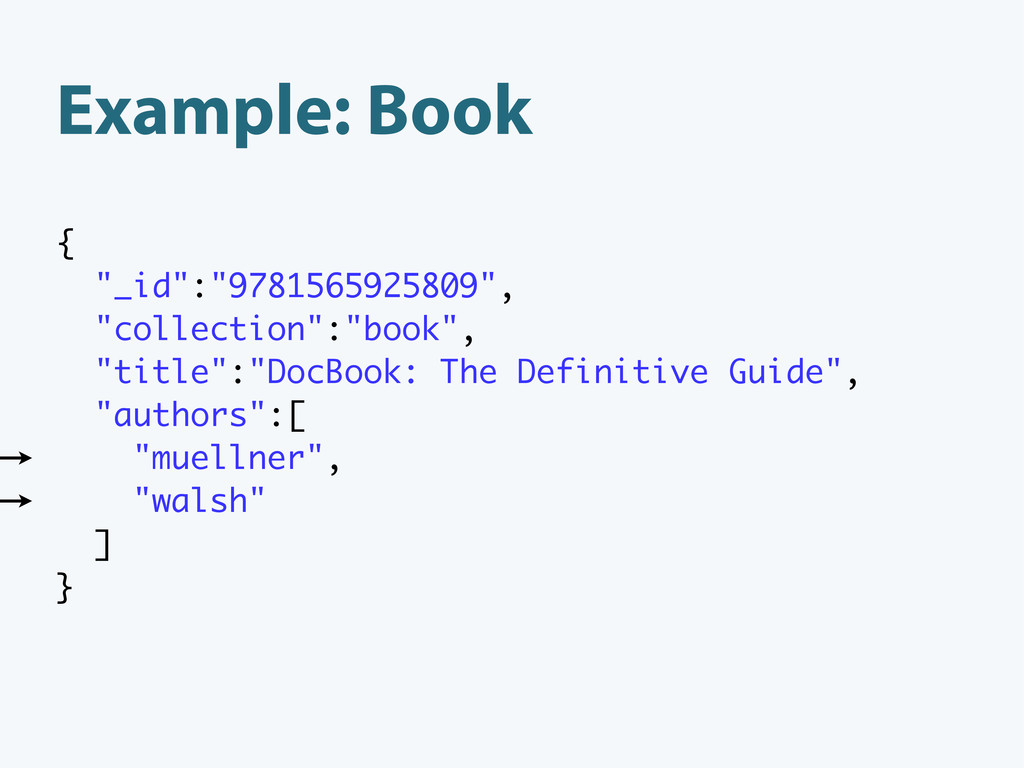 """Example: Book { """"_id"""":""""9781565925809"""", """"collect..."""
