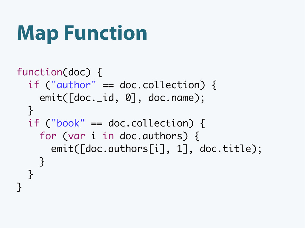 """Map Function function(doc) { if (""""author"""" == do..."""