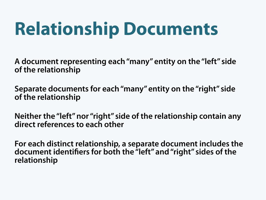 """A document representing each """"many"""" entity on t..."""