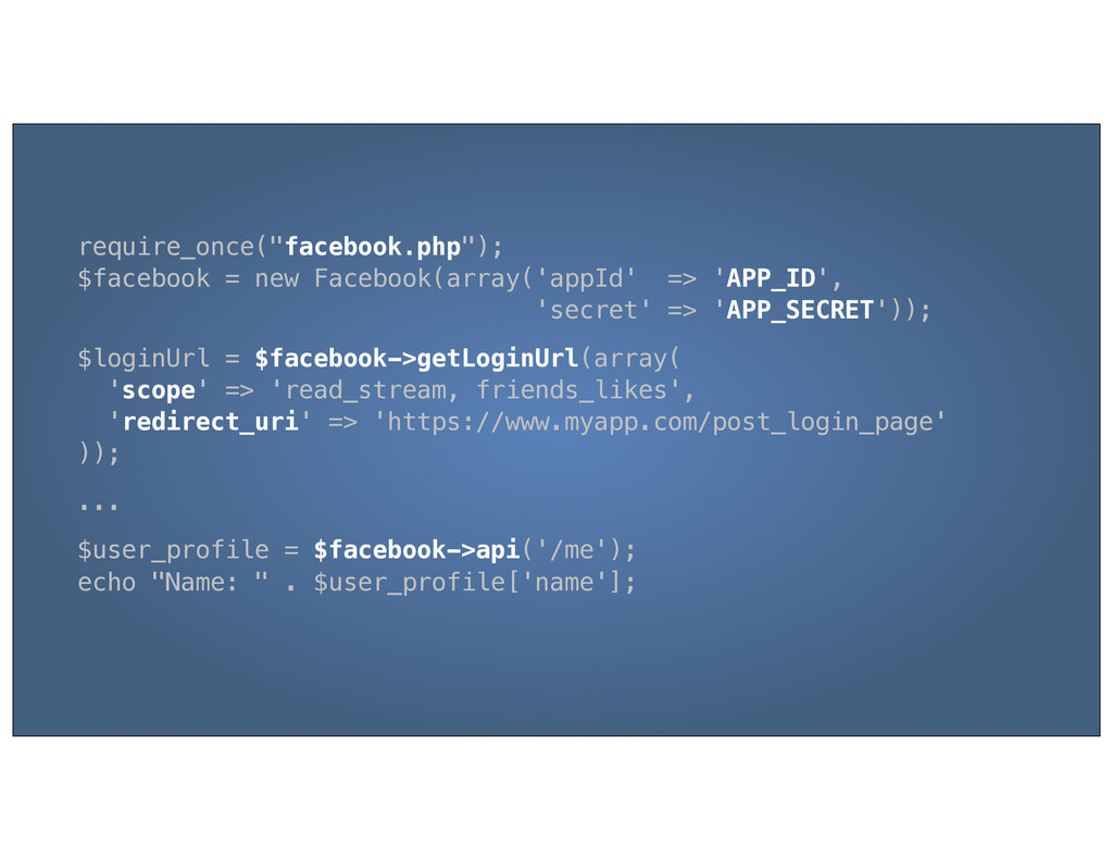 "require_once(""facebook.php""); $facebook = new F..."