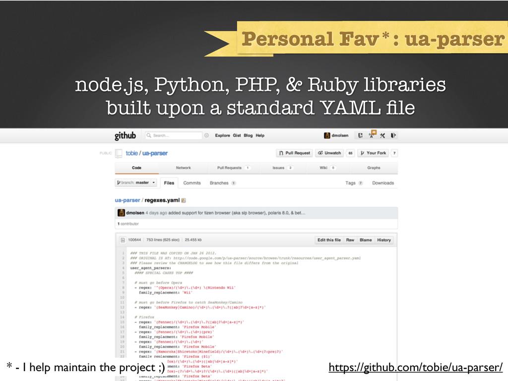 Personal Fav*: ua-parser node.js, Python, PHP, ...