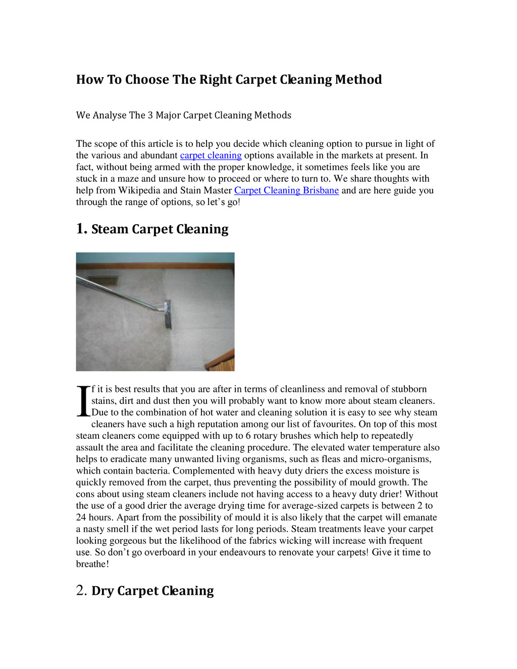 How To Choose The Right Carpet Cleaning Method ...