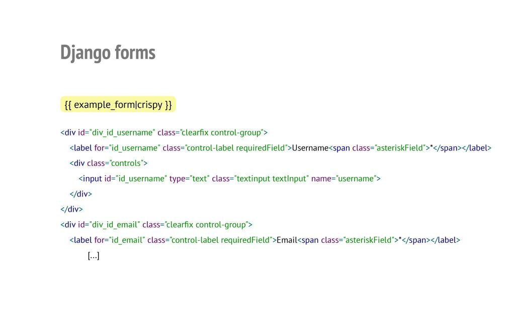Django forms {{ example_form|crispy }} <div id=...