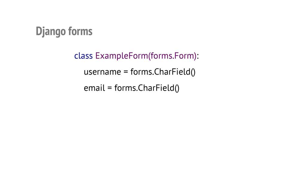 Django forms class ExampleForm(forms.Form): use...