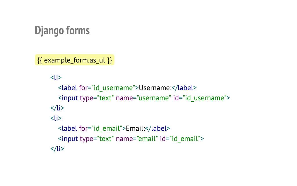Django forms {{ example_form.as_ul }} <li> <lab...