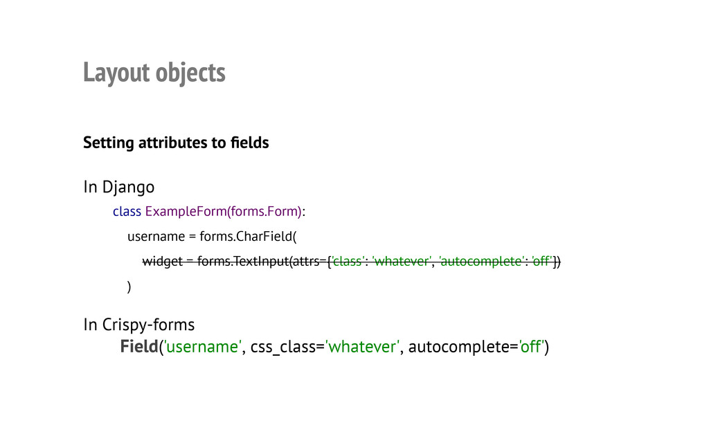 Layout objects Setting attributes to fields In ...