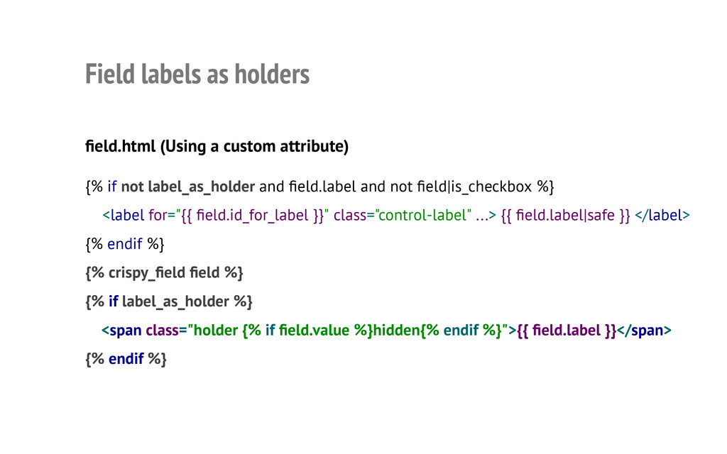 Field labels as holders field.html (Using a cus...