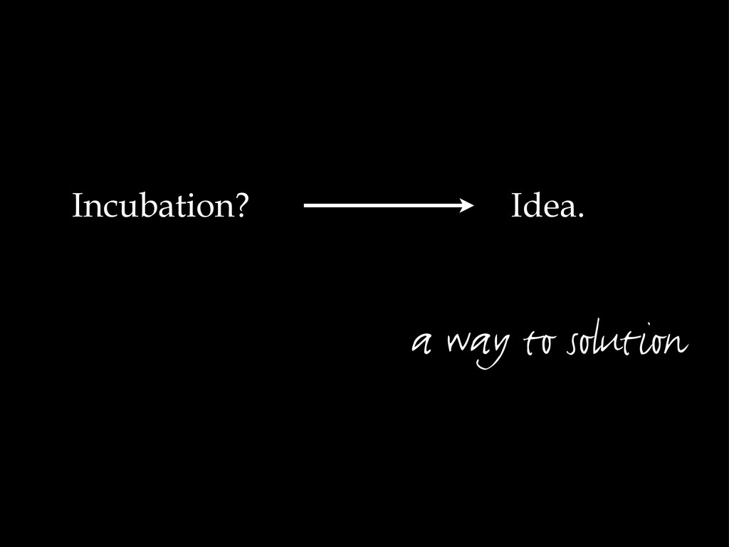 Idea. a way to solution Incubation?