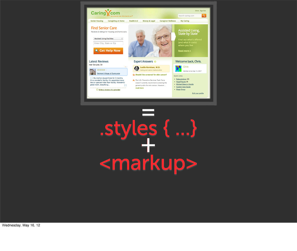 <markup> .styles { ...} + = + + Wednesday, May ...