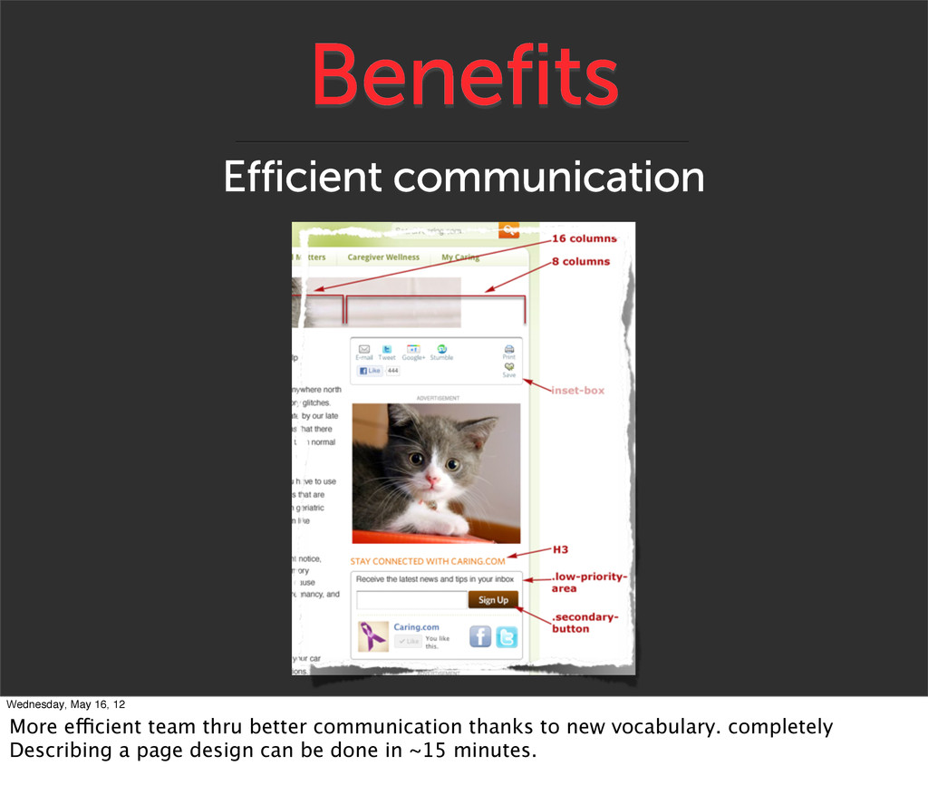 Benefits Efficient communication Wednesday, May...