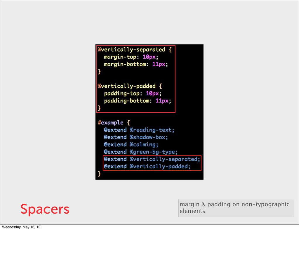 Spacers margin & padding on non-typographic ele...