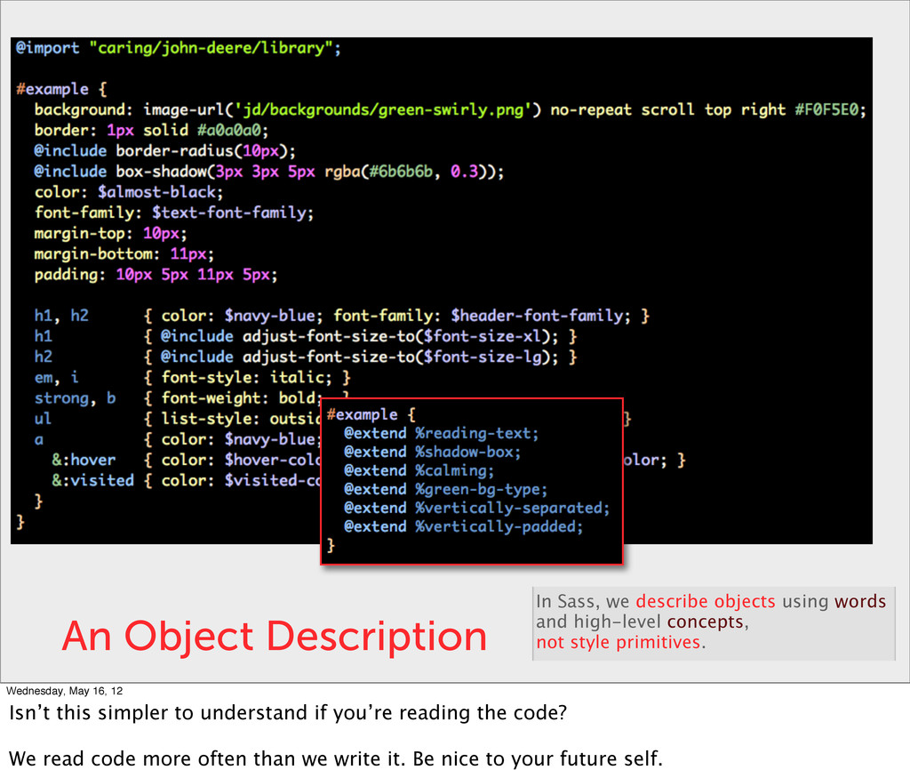 An Object Description In Sass, we describe obje...