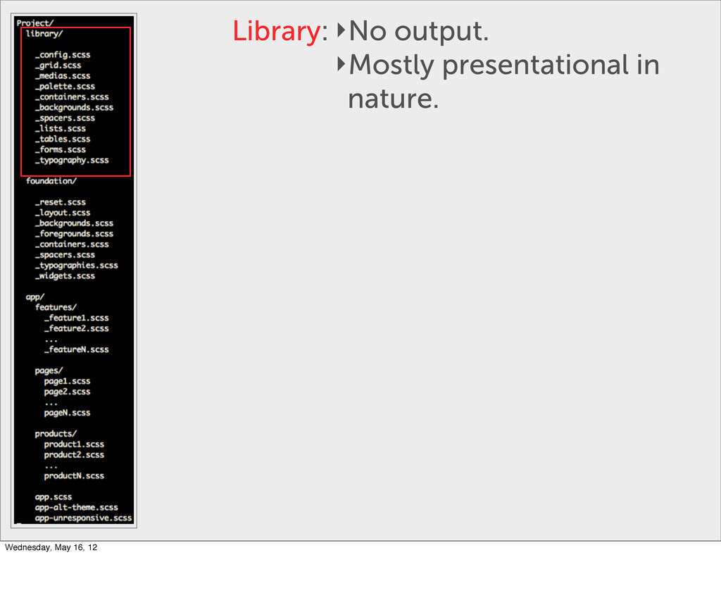 Library: ‣No output. ‣Mostly presentational in ...