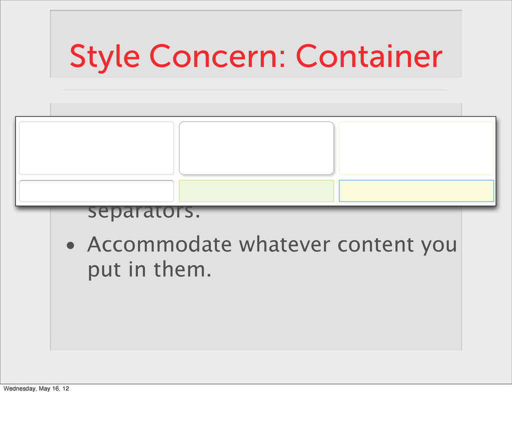 Style Concern: Container • Define a space using ...