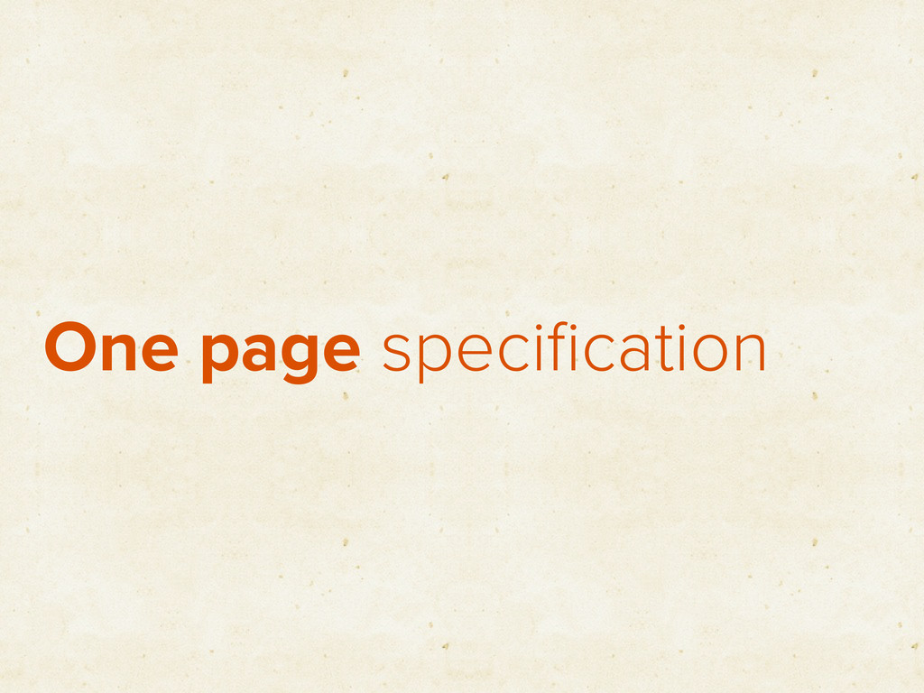 One page specification