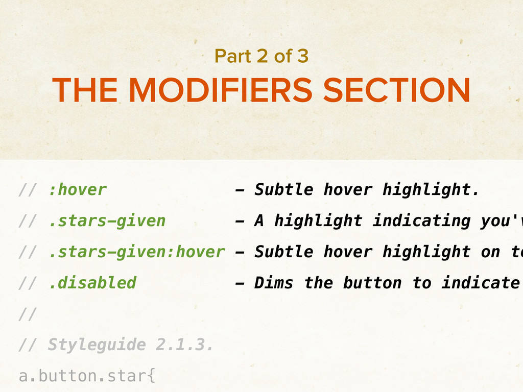 // :hover - Subtle hover highlight. // .stars-g...