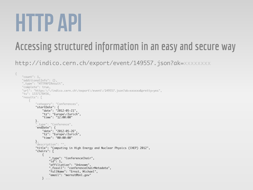 HTTP API Accessing structured information in an...