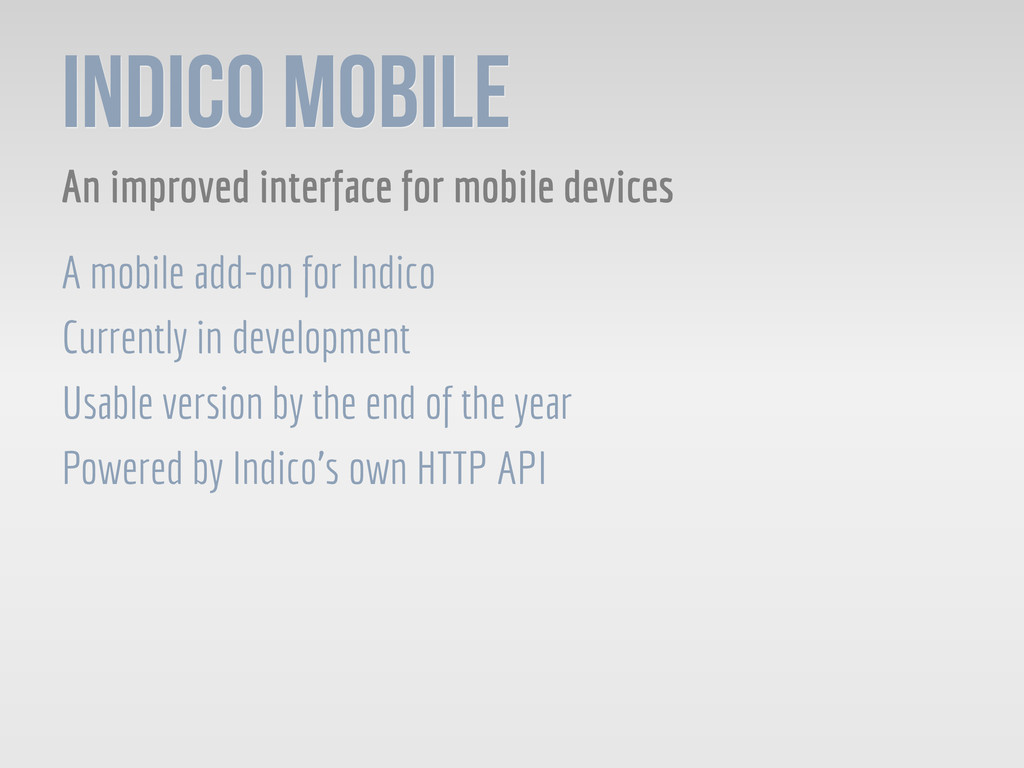 Indico Mobile An improved interface for mobile ...