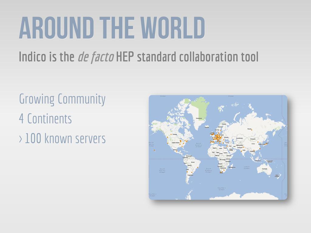 AROUND THE WORLD Indico is the de facto HEP sta...