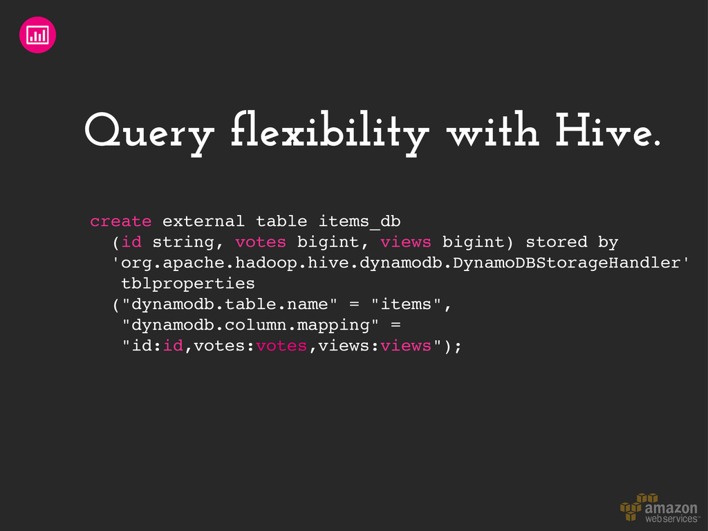 Query flexibility with Hive. create external ta...