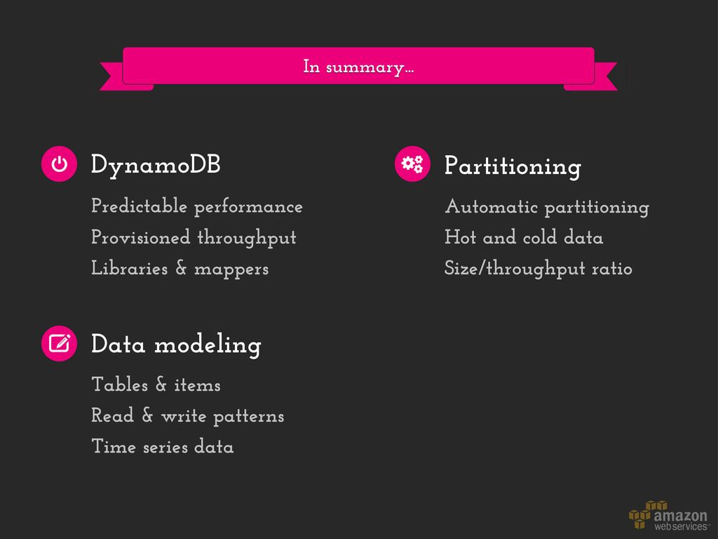In summary... DynamoDB Data modeling Partitioni...