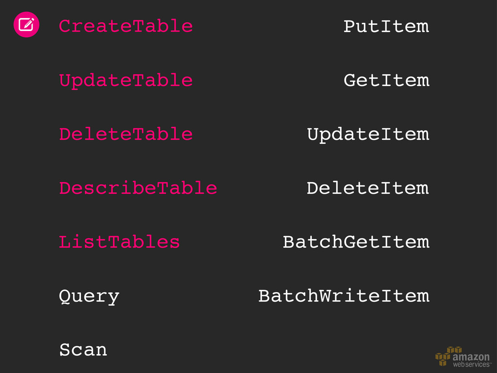 CreateTable UpdateTable DeleteTable DescribeTab...