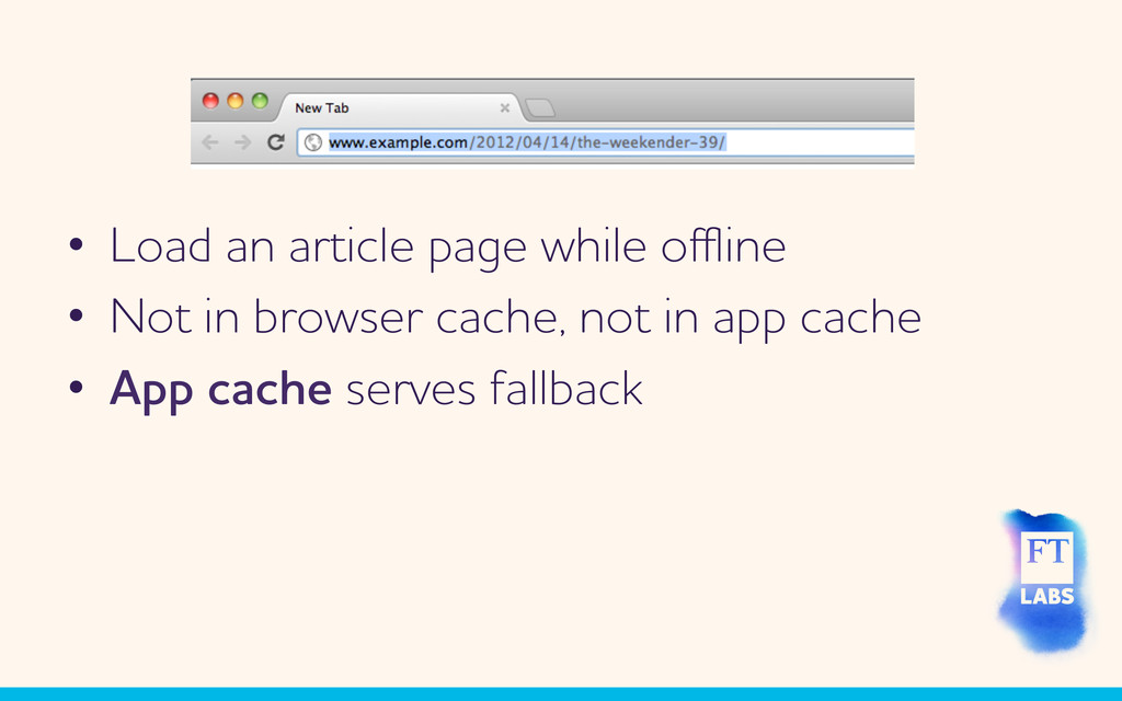 • Load an article page hile offline • Not in b...