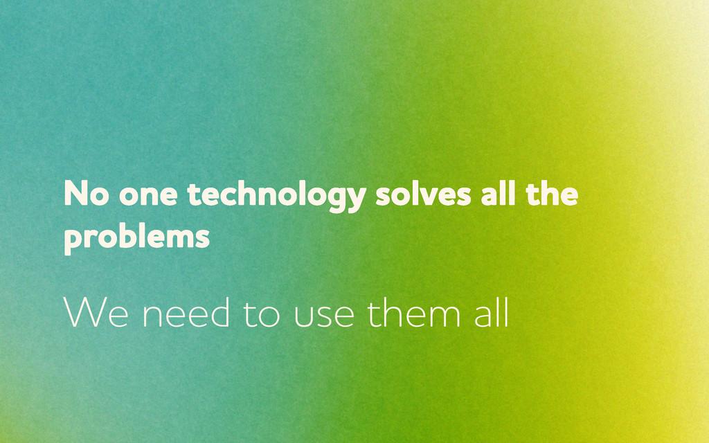 No one technology solves all the problems e ne...