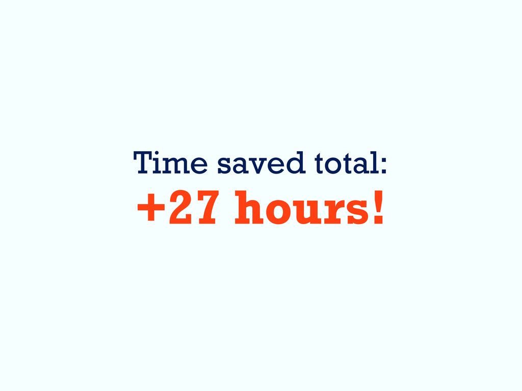 Time saved total: +27 hours!